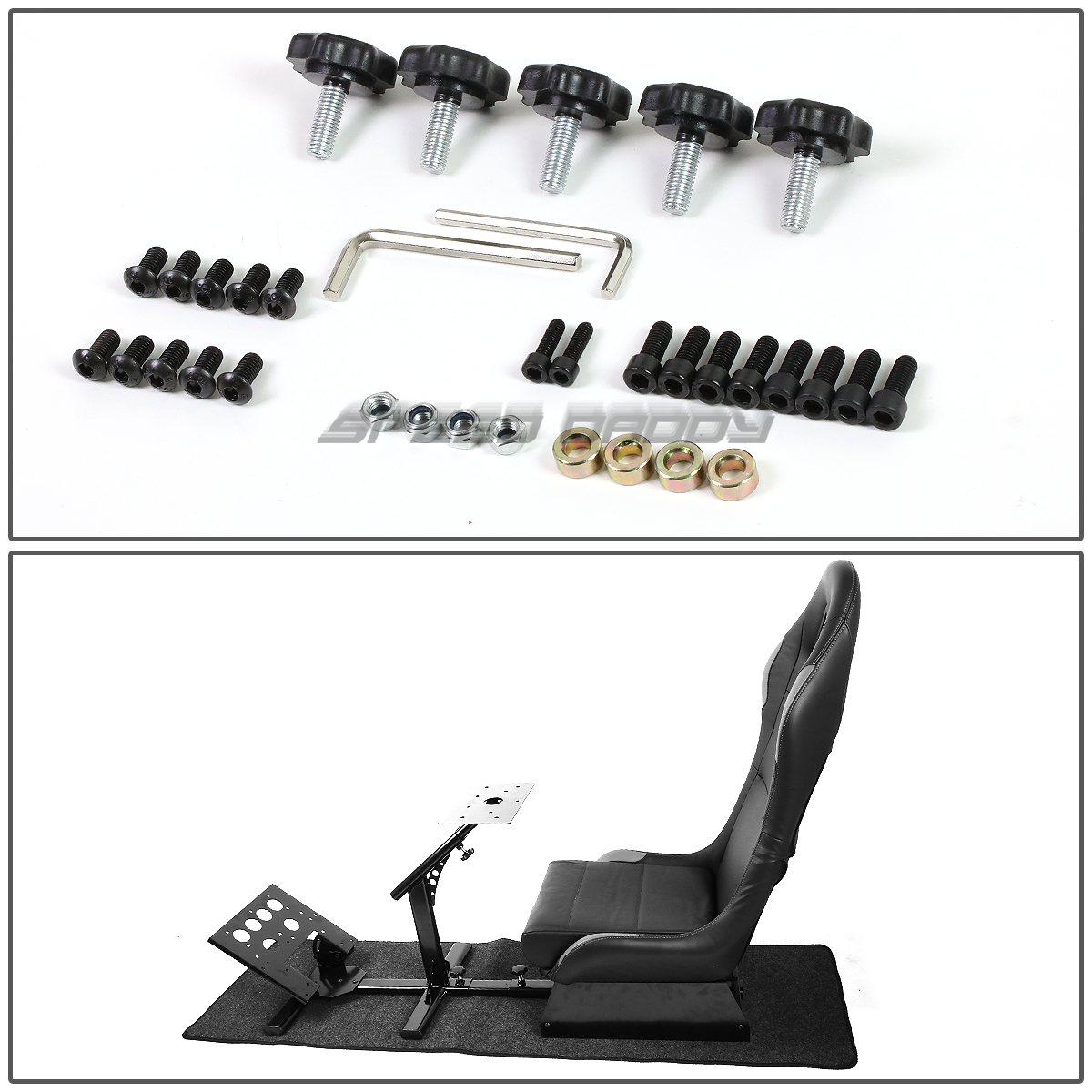 COCKPIT-DRIVING-SIMULATOR-RACING-SEAT-GAMING-CHAIR-W-GEAR-PEDALS-MOUNT-KIT